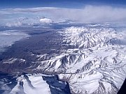 Flying over Andes Chile and Argentina below